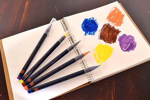 水彩毛筆「彩 Sai」 秋を描く5色セット 筆ペン あかしや CA200/5VC  ※ネコポス配送可