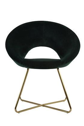 Chaise en velours vert foncé