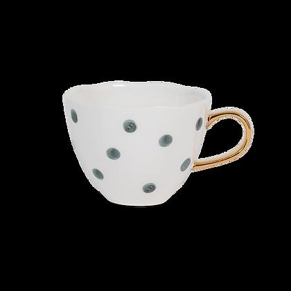 Tasse à café en porcelaine à pois vert et or