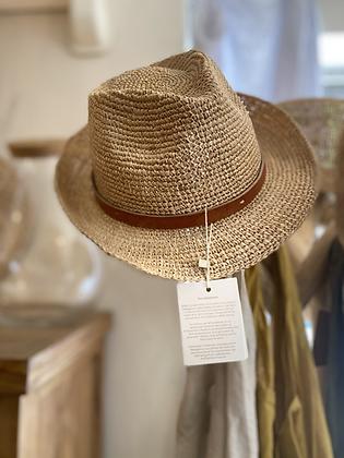 Chapeau en raffia & Cuir Sovani