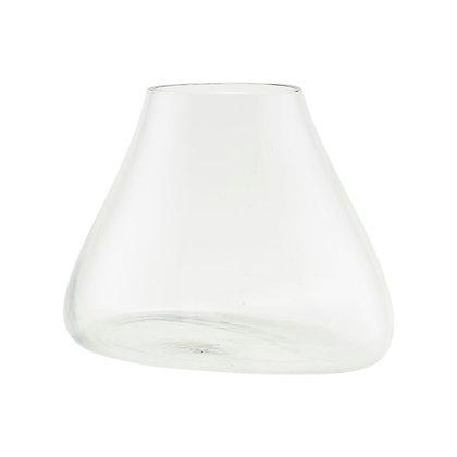 Vase transparent incliné