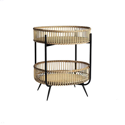 TABLE RONDE D'APPOINT METAL ET BAMBOU