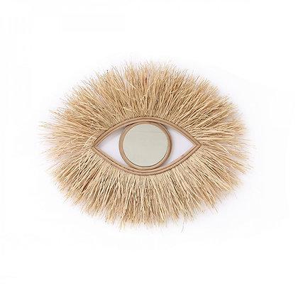 Miroir Oeil en raphia naturel