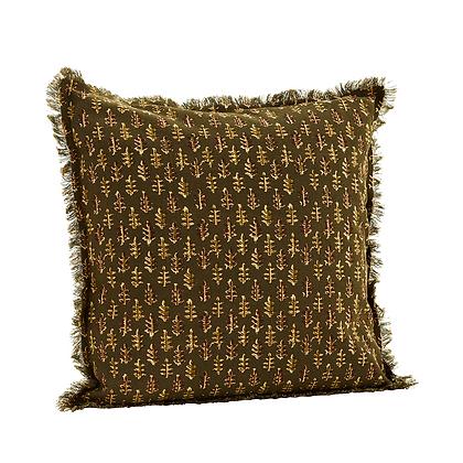Coussin imprimée motif feuille en coton