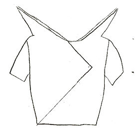 "Flat sketch of avant-garde garment titled ""Dissociative"" consisting of a split neon yellow and light blue top with protruding triangle shoulder details influenced by Julien Fournie's Haute Coture Fall-Winter 2012/2014 Collection constructed by Michigan State University Apparel and Textile Design Student Sara Stanzler aka The Golden Haired Girl."
