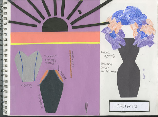 "Sketchbook page with fashion sketches outlining the design details for the avant-garde garment titled ""Horizons"" consisting of a plum strapless bralet/bustier and midi skirt with royal blue piping, coral pocket accents and a large shoulder/head piece. Inspired by the perception of a foreshortened future described by the Lifespan Theory of Motivation. Garment constructed by Michigan State University Apparel and Textile Design Student Sara Stanzler aka The Golden Haired Girl."