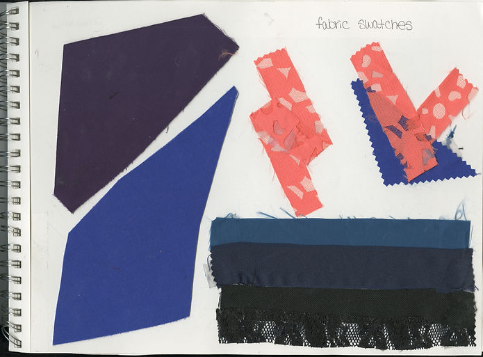 "Fabric swatches for the avant-garde garment titled ""Horizons"" consisting of a plum strapless bralet/bustier and midi skirt with royal blue piping, coral pocket accents and a large shoulder/head piece. Inspired by the perception of a foreshortened future described by the Lifespan Theory of Motivation. Garment constructed by Michigan State University Apparel and Textile Design Student Sara Stanzler aka The Golden Haired Girl."