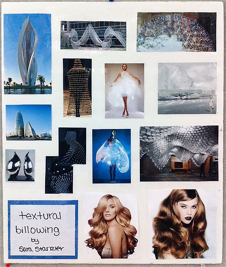 """Mood board"" / inspirational board used to brainstorm the fashion design of a gown titled ""Billow"", an avant-garde chiffon organza structural gown inspired by organic architecture constructed by Michigan State University Apparel and Textile Design Student Sara Stanzler aka The Golden Haired Girl."