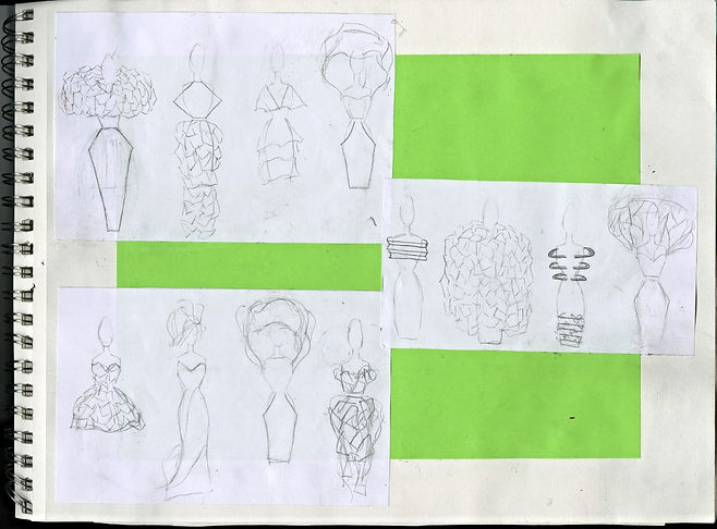 "Rough croqui's/fashion sketches for the avant-garde collection ""Horizons"" inspired by the perception of a foreshortened future described by the Lifespan Theory of Motivation. Garment constructed by Michigan State University Apparel and Textile Design Student Sara Stanzler aka The Golden Haired Girl."