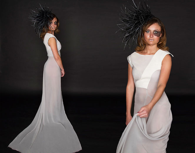 "Avant-garde chiffon organza structural gown titled ""Billow"" paired with a black 3-demensional fascinator inspired by organic architecture. Garment constructed by Michigan State University Apparel and Textile Design Student Sara Stanzler aka The Golden Haired Girl."