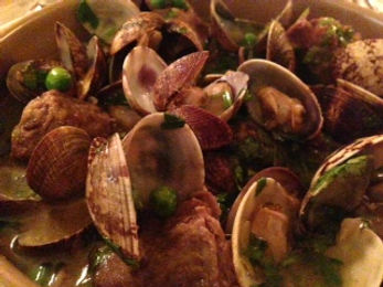 Carpet Clams, Pork Cheek, Peas, Fino - Restaurant review of the South West restaurant, The Seahorse