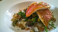 Red Mullet with Pine Nuts and Raisin Spaghetti