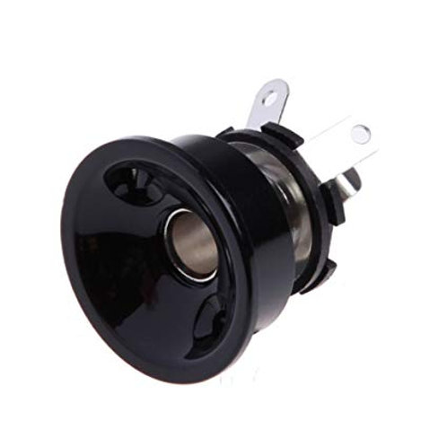 Output Plate Black Round With Socket