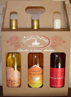 CréaVinsDeFruits - Coffret découverte perlé ou pétillant - Vin de fruits - Hydromel - fleurs de sureau - framboises