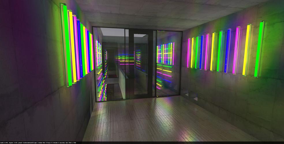 Lightart-Projekt- NEON LIGHT Half mirror