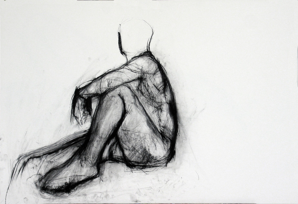 männl Akt sitzend 2012, 100x70 cm, Kreide
