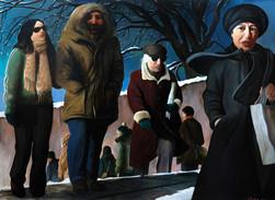 """Lukas Johannes Aigner, """"Ein Kommen und Gehen"""" Acryl auf MDF, 140x190, 2009"""