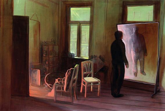 """Lukas Johannes Aigner, """"Vom Spiegel belogen-vom Licht betrogen"""", Acryl auf Tafel, 110x82, 2008"""