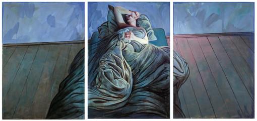 """Lukas Johannes Aigner, """"Der Traum verhüllt durch Wirklichkeit"""", Triptychon, Acryl auf Tafel, 420x200 cm, 2008"""