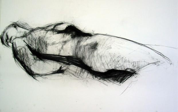 weibl. Akt liegend 2006, 100x70 cm, Kreide