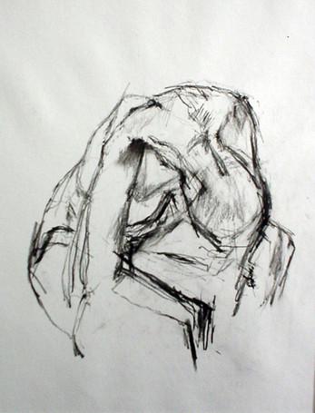 Akt 2001, 50x70 cm, Kreide