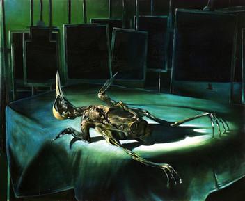 "Lukas Johannes Aigner, ""Dead Bird"", Acryl/Öl auf Tafel, 100x120cm, 2000"
