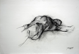 männl. Akt liegend 2005, 100x70 cm, Kreide