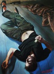 """Lukas Johannes Aigner, """"Postpupertärer, berufsjugentlicher Komasäufer, werdender Spiegeltrinker"""", Acryl/Öl auf Tafel, 190x140cm, 2007"""