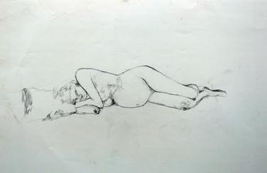 Schwangere liegend 2013, 100x70 cm, Kreide