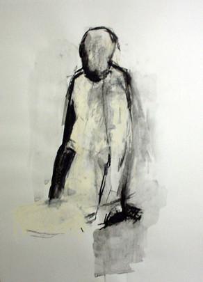 sitzende Figur 2001, 50x70 cm, Kreide
