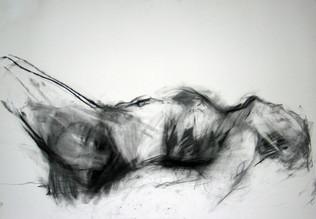 weibl. Akt 2009, 100x70 cm, Kreide