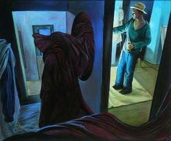 """Lukas Johannes Aigner, """"Wirkung und Ursache"""" Acryl auf MdF, 100x120cm, 2008"""