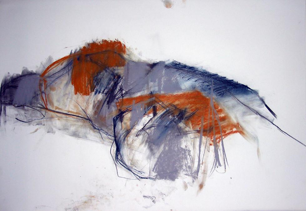 männl. Akt 2009, 100x70 cm, Kreide