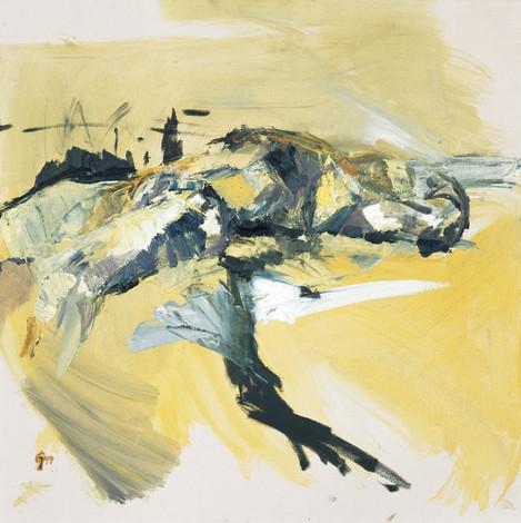 männl. Akt 1999, 100x100 cm