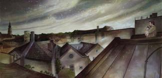"""Lukas Johannes Aigner, """"Über den Dächern von Linz"""" Acryl auf MDF, 100x200cm, 2015"""
