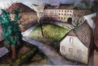 """Lukas Johannes Aigner, Dämmerstunde in Alturfahr"""", Acryl Auf MDF, 100x140 cm, 2014"""