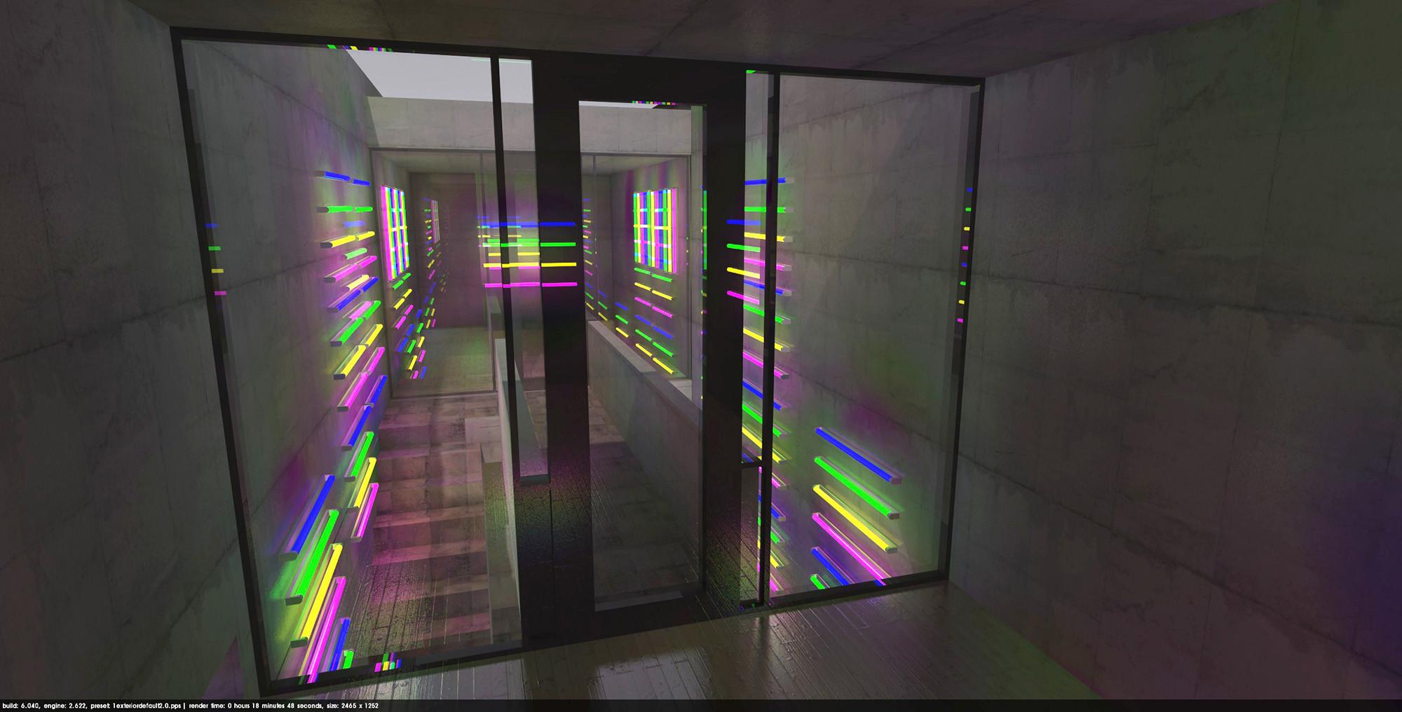 Franz Durst-Lightart-Projekt- NEON LIGHT Half mirror