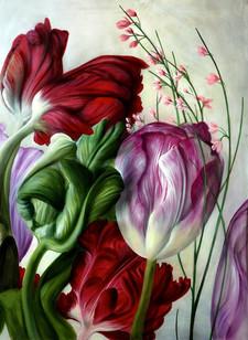 Lukas Johannes Aigner Tulpen, Acryl auf Mdf, 200x160, 2012