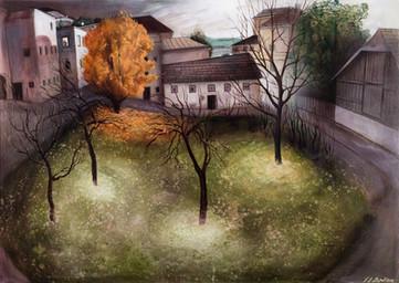 """Lukas Johannes Aigner, """"Herbst in Alt-Urfahr"""", Acryl auf MDF, 110x130cm, 2013"""