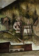 """Lukas Johannes Aigner, """"Blick aus meinem Fenster in Bad Ischl"""" 140x100cm, Acryl auf MDF, 2015"""