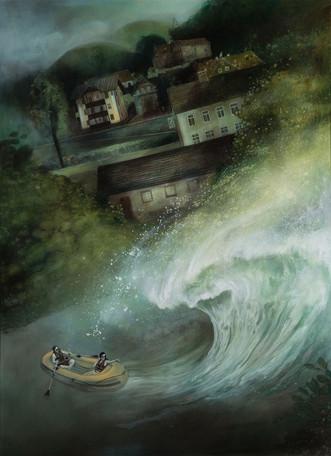 """Lukas Johannes Aigner """"Als die Welle kam"""" Acryl auf MDF, 200x160cm, 2015"""