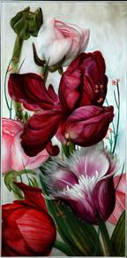 Lukas Johannes Aigner,Tulpen,Acryl auf Mdf,200x100,2012