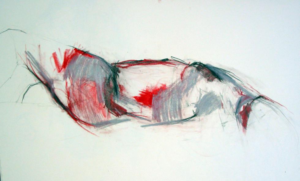 2006 Torso Farbkreide rot Grau, 100x70 cm