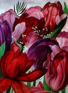 Lukas Johannes Aigner,Tulpen,Acryl auf Mdf,200x160,2012