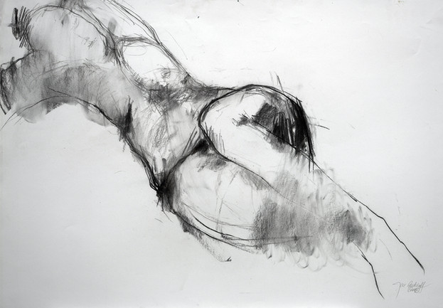 weibl. Akt lehnend 2015, 100x70 cm, Kreide