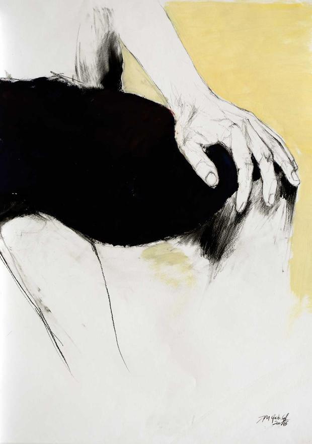 Hand am Knie 2016, Kreide_Öl