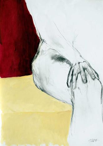 Hand am Knie rechts 2016, Kreide_Öl