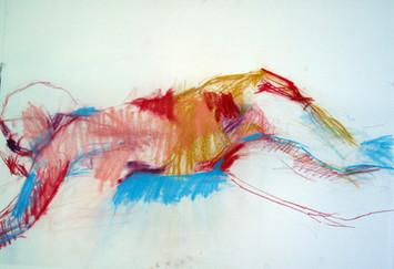 weibl. Akt Farbkreide 2006, 100x70 cm