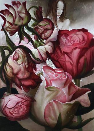 """Lukas Johannes Aigner """"Blumenstillleben"""" Acryl auf MDF, 200x140cm, 2016"""