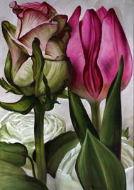 """Lukas Johannes Aigner, Aus dem Zyklus: """"Oksana, durch die Blumen gemalt"""", Acryl auf MDF, 200x140cm, 2016"""